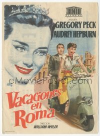 8r1098 ROMAN HOLIDAY Spanish herald R1950s Jano art of Audrey Hepburn & Gregory Peck on Vespa!