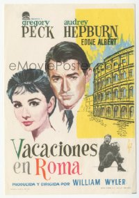 8r1097 ROMAN HOLIDAY Spanish herald 1954 different DGZ art of Audrey Hepburn & Gregory Peck, rare!
