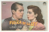 8r1102 SALTY O'ROURKE Spanish herald 1945 different c/u of Alan Ladd & Gail Russell, Raoul Walsh