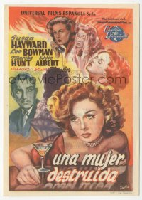 8r1123 SMASH-UP Spanish herald 1947 different Tulla art of sexy Susan Hayward w/ booze, ultra rare!