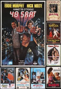 8s0723 LOT OF 15 UNFOLDED AND FORMERLY FOLDED 27X40 TURKISH POSTERS 1950s-1980s cool movie images!