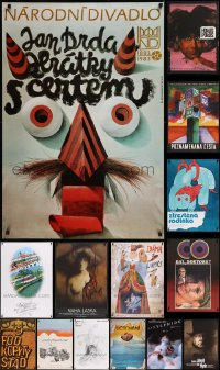 8s0722 LOT OF 19 MOSTLY UNFOLDED CZECH POSTERS 1950s-1980s a variety of cool movie images!