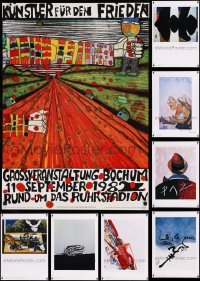 8s0725 LOT OF 12 UNFOLDED GERMAN 23.5X33 ART PRINTS 1980s a variety of cool images!