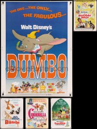 8s0708 LOT OF 5 WALT DISNEY RE-RELEASE 30X40S 1970s from animated & live action movies!