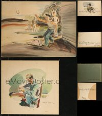 8s0034 LOT OF 3 ORIGINAL WATERCOLOR PAINTINGS 1940s great images ready to frame on your wall!