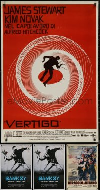 8s0720 LOT OF 4 UNFOLDED ITALIAN 27X39 REPRODUCTION POSTERS 1990s-2020s Vertigo, Miracle in Milan!