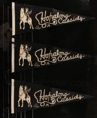 8s0020 LOT OF 6 HOPALONG CASSIDY FELT PENNANTS 1940s great image of the cowboy star & his horse!