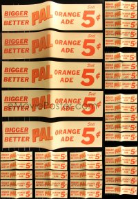 8s0030 LOT OF 48 UNFOLDED 7X28 PAL ORANGE ADE BANNERS 1940s bigger & better for 5 cents!