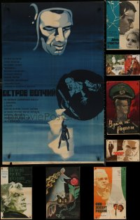 8s0712 LOT OF 9 FORMERLY FOLDED RUSSIAN POSTERS 1950s-1980s a variety of cool movie images!