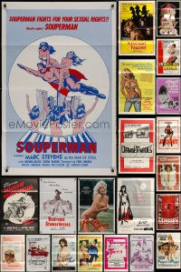 8s0741 LOT OF 51 FORMERLY TRI-FOLDED SEXPLOITATION ONE-SHEETS 1970s-1980s sexy movie images!