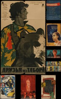 8s0713 LOT OF 8 FORMERLY FOLDED RUSSIAN POSTERS 1950s-1980s a variety of cool movie images!