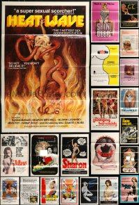 8s0743 LOT OF 43 FORMERLY TRI-FOLDED SEXPLOITATION ONE-SHEETS 1970s-1980s sexy movie images!