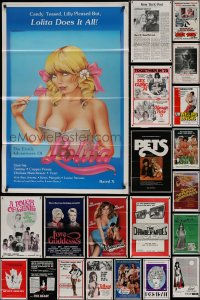 8s0740 LOT OF 55 FORMERLY TRI-FOLDED SEXPLOITATION ONE-SHEETS 1970s-1980s sexy movie images!