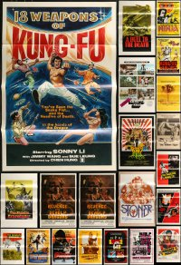 8s0744 LOT OF 36 FORMERLY TRI-FOLDED KUNG FU ONE-SHEETS 1970s-1980s cool martial arts movie images!