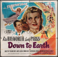 8t0040 DOWN TO EARTH 6sh 1946 different artwork of beautiful Rita Hayworth & Larry Parks!