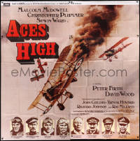 8t0028 ACES HIGH English 6sh 1976 Malcolm McDowell, really cool WWI airplane dogfight art!