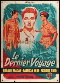 8t0926 HASTY HEART French 1p 1951 Pigeot art of Ronald Reagan, Patricia Neal & Richard Todd, rare!