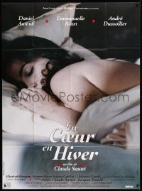 8t0929 HEART IN WINTER French 1p 1992 Un Coeur En Hiver, sexy close up image of Emmanuelle Beart!