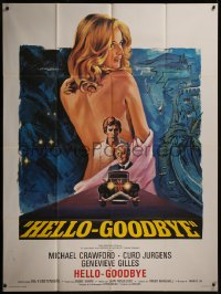 8t0932 HELLO-GOODBYE French 1p 1971 Grinsson art of Michael Crawford & sexy naked Genevieve Gilles!