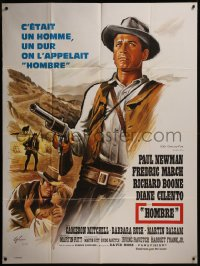 8t0943 HOMBRE French 1p 1966 Martin Ritt, completely different art of Paul Newman by Boris Grinsson!