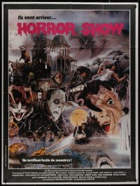 8t0948 HORROR SHOW French 1p 1980 Scott art of Lugosi, Hitchcock, Karloff, Chris Lee & many more!