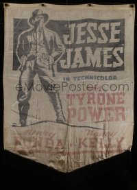 8t0011 JESSE JAMES silk banner 1939 great full-length portrait of masked outlaw Tyrone Power!