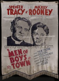 8t0012 MEN OF BOYS TOWN silk banner 1941 Spencer Tracy as Father Flanagan, Mickey Rooney, rare!