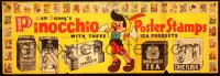 8t0013 PINOCCHIO 27x78 special poster 1940 Disney tie-in with IGA grocery products, ultra rare!