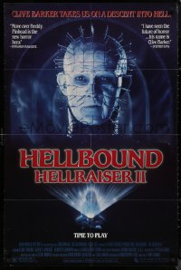 8w0962 HELLBOUND: HELLRAISER II 1sh 1988 Clive Barker, close-up of Pinhead, he's back!