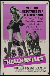 8w0961 HELL'S BELLES int'l 1sh 1969 sexy too young too tough biker babe in leather skirt!