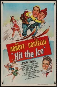8w0967 HIT THE ICE 1sh R1949 art of Ginny Simms w/Bud Abbott & Lou Costello on skis, very rare!