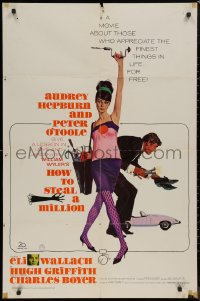 8w0973 HOW TO STEAL A MILLION 1sh 1966 Robert McGinnis art of sexy Audrey Hepburn & Peter O'Toole!