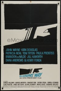 8w0981 IN HARM'S WAY 1sh 1965 Otto Preminger, classic Saul Bass pointing hand artwork!