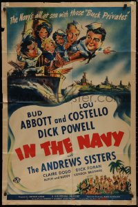 8w0983 IN THE NAVY 1sh 1941 Bud Abbott & Lou Costello as sailors & the Andrews Sisters, ultra rare!