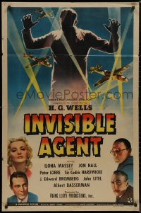 8w0986 INVISIBLE AGENT 1sh 1942 fx image of invisible man with WWII airplanes, Peter Lorre