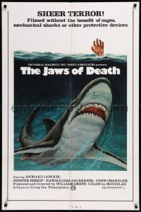 8w0990 JAWS OF DEATH 1sh 1976 Mako, Jaeckel, great art of shark attacking & hand raised from water!