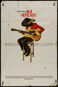 8w0993 JIMI HENDRIX int'l 1sh 1974 great art of the rock & roll legend playing guitar on chair!