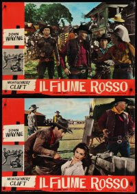 8x0676 RED RIVER group of 8 Italian 19x27x27 pbustas R1960s John Wayne, Montgomery Clift, Hawks!