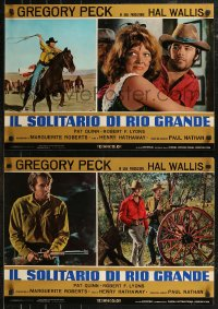 8x0681 SHOOT OUT group of 8 Italian 18x26 pbustas 1971 gunfighter Gregory Peck vs. 3 fast guns!