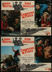 8x0688 WAR WAGON group of 8 Italian 18x26 pbustas 1967 cowboys John Wayne & Kirk Douglas!