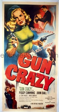 VHP7 426 GUN CRAZY linen three-sheet movie poster '50 classic film noir image!