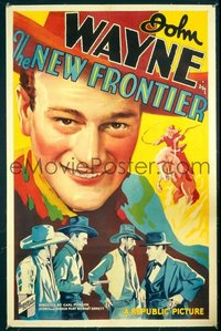 JW 112 NEW FRONTIER linen one-sheet movie poster '35 great John Wayne art!