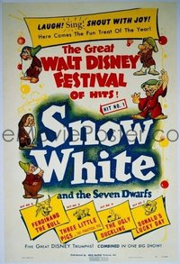 089 GREAT WALT DISNEY FESTIVAL OF HITS 1sh '40 Snow White and the Seven Dwarfs