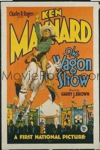 v348 WAGON SHOW linen 1sh '28 Maynard on bucking horse!