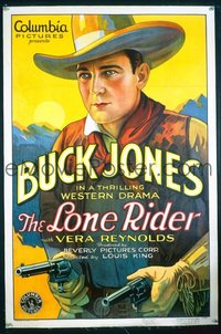 VHP7 012 LONE RIDER linen one-sheet movie poster '30 great Buck Jones image!