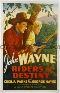 JW 059 RIDERS OF DESTINY linen one-sheet movie poster '33 great Wayne image!