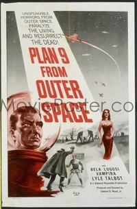 VHP7 360 PLAN 9 FROM OUTER SPACE linen one-sheet movie poster '58 Wood & Lugosi!