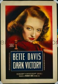 VHP7 033 DARK VICTORY linen one-sheet movie poster '39 Bette Davis close up!