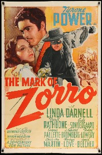 #203 MARK OF ZORRO linen one-sheet movie poster '40 Tyrone Power, Darnell!