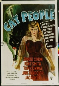 #110 CAT PEOPLE linen one-sheet movie poster '42 Simone Simon, Val Lewton!
